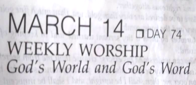 March 14 Weekly Worship