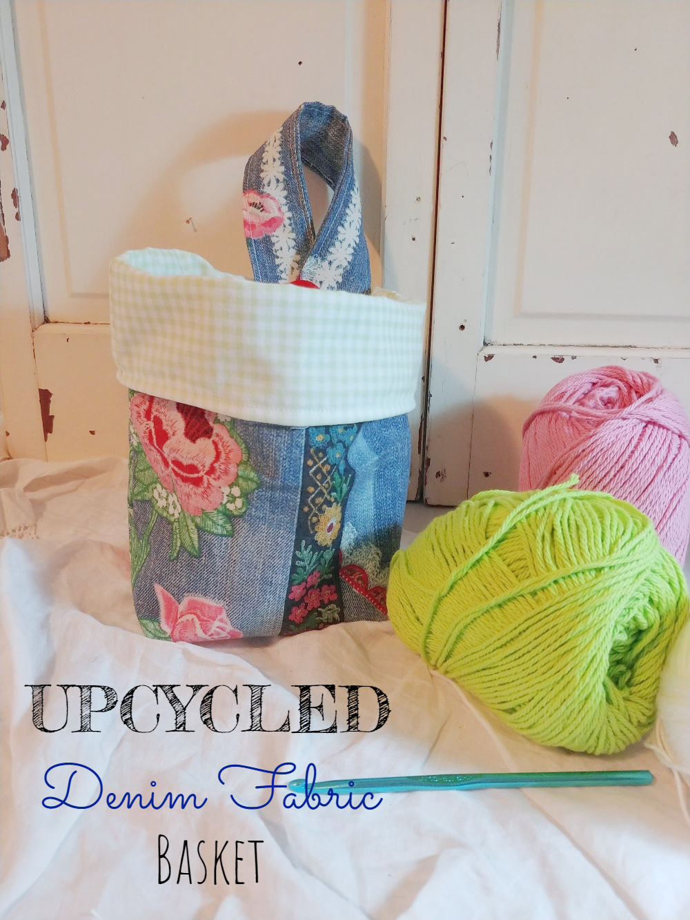 Upcycled Denim Fabric Baskets