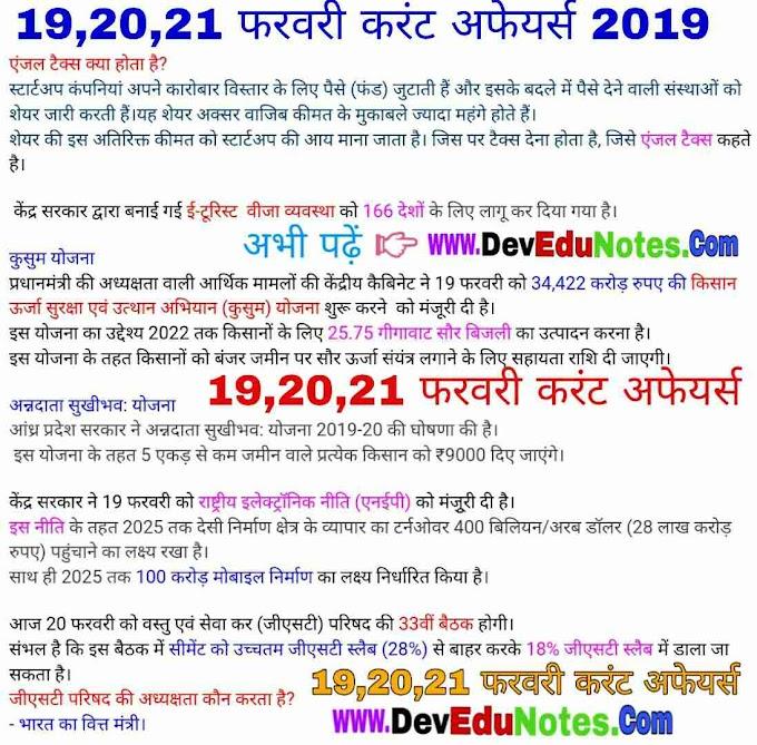 19,20,21 फरवरी करंट अफेयर्स 2019 || February Current Affairs 2019 In Hindi