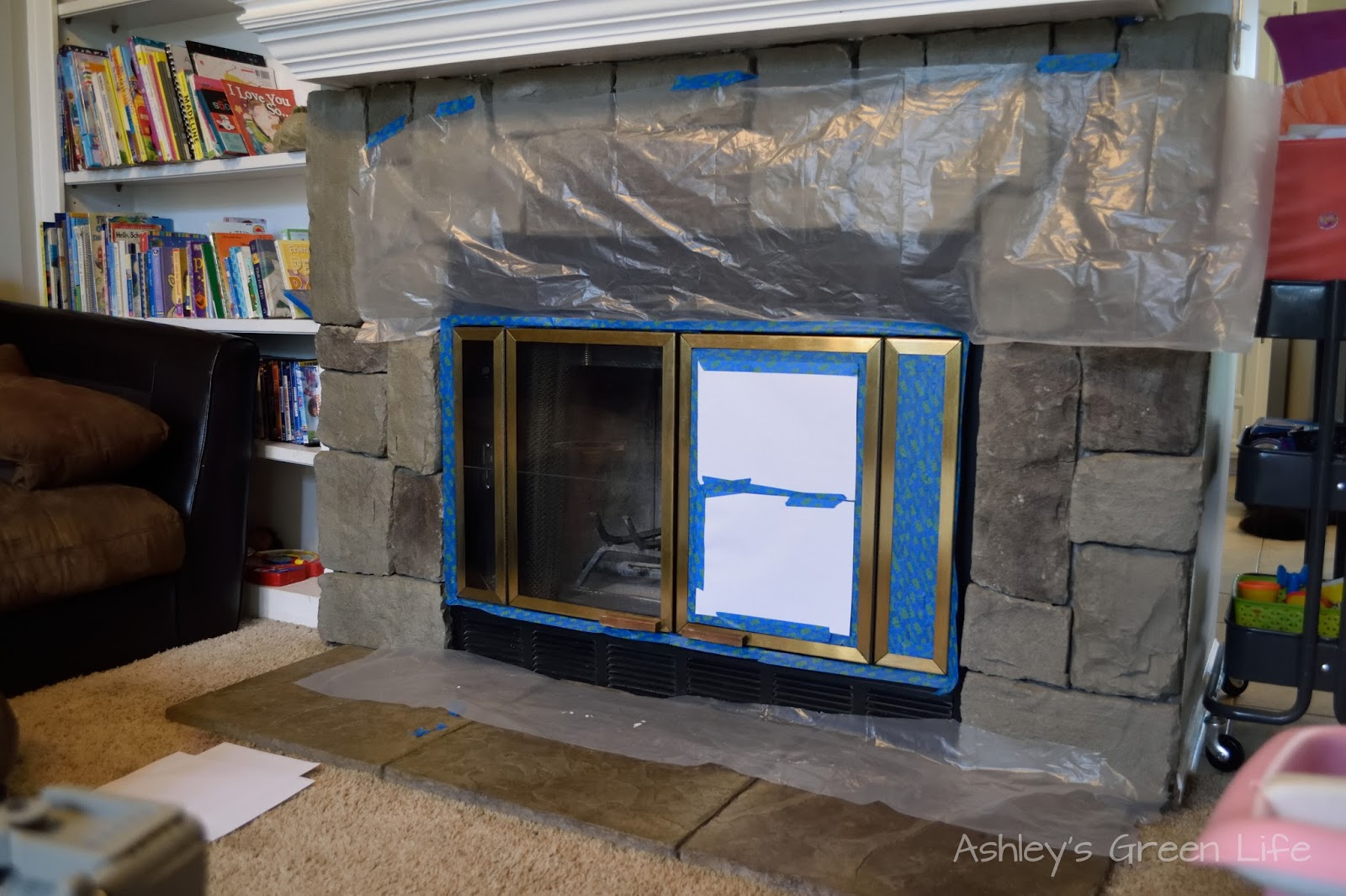 as you can see i also used paper in the windows to save me from taping each inch of it i also made sure to extend the drop cloth all the way