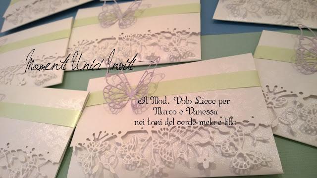 van Il modello Volo Lieve personalizzato per Marco e VanessaColore Bianco Colore Lilla Tema Farfalle Verde Mela