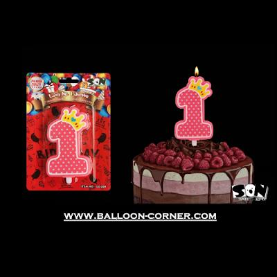 Lilin Ulang Tahun Angka 1 Jumbo / Lilin 1st Birthday (Pink)