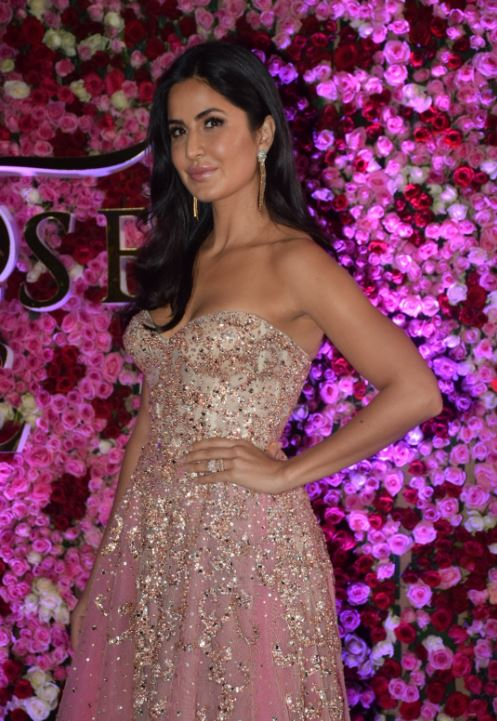 Katrina Kaif in Golden Sleeveless Shoulder Less Gown for Lux Golden Rose Awards 2017
