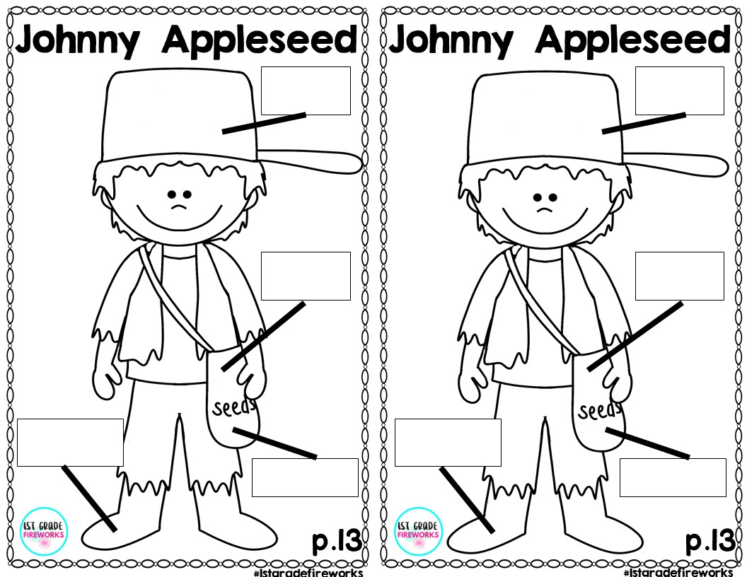 worksheet Johnny Appleseed Worksheets 1st grade fireworks johnny appleseeds birthday gift to you they are 2 a page copy cut apart collate staple