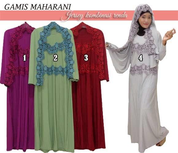 setelan gamis syar'i dan jilbab model selendang terbaru