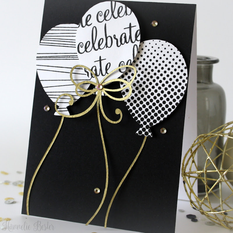 Celebrate : card with balloons in black, white & gold