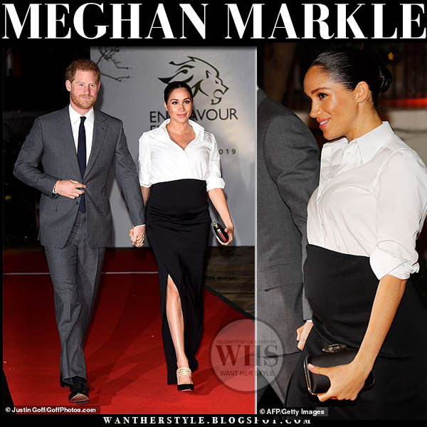 Meghan Markle Duchess of Sussex in white shirt and black slit maxi skirt bespoke givenchy dress aquazzura rendez vous mules red carpet royal family outfit february 7