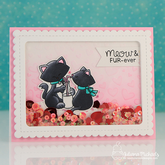 Cat Valentine Shaker Card by Juliana Michaels | Newton's Sweetheart Stamp Set and Tumbling Hearts Stencil by Newton's Nook Designs #newtonsnook #handmade