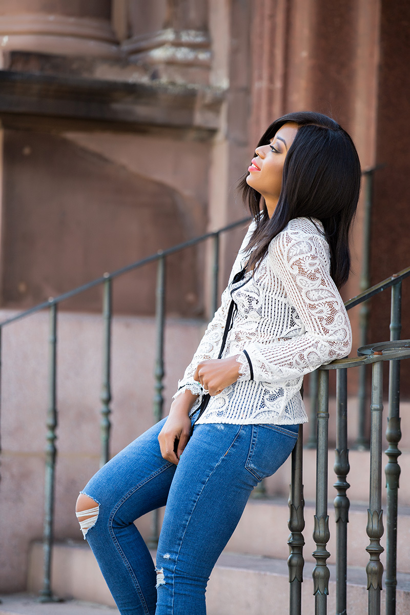 casual look, skinny jeans, lace blouse, www.jadore-fashion.com