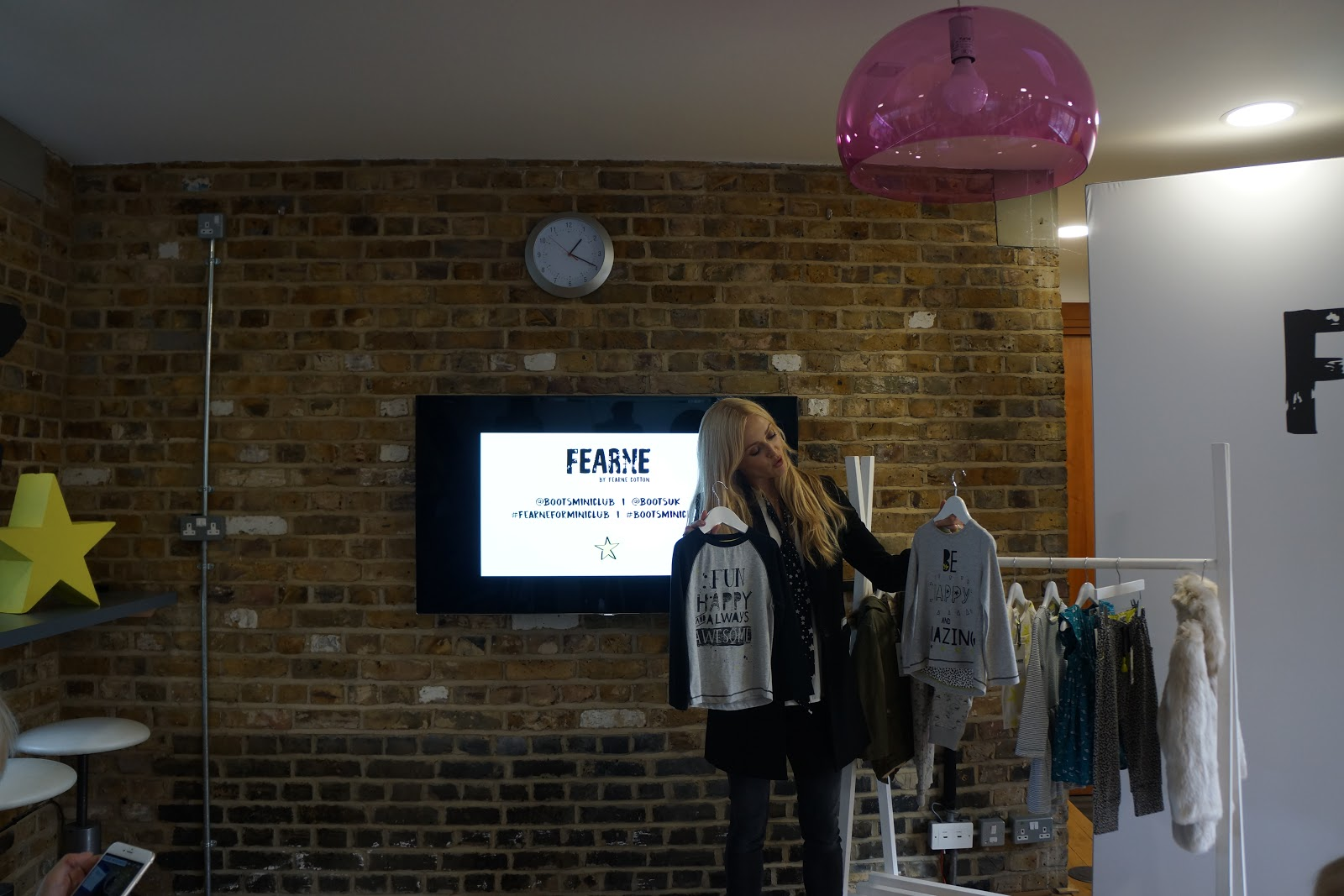Fearne Cotton presenting her new kids clothing range with Boots