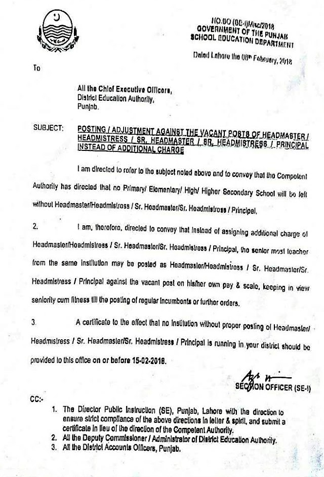 POSTING / ADJUSTMENT AGAINST THE VACANT POSTS OF HEADMASTER / HEADMISTRESS / SR. HEADMASTER / SR. HEADMISTRESS / PRINCIPAL INSTEAD OF ADDITIONAL CHARGE