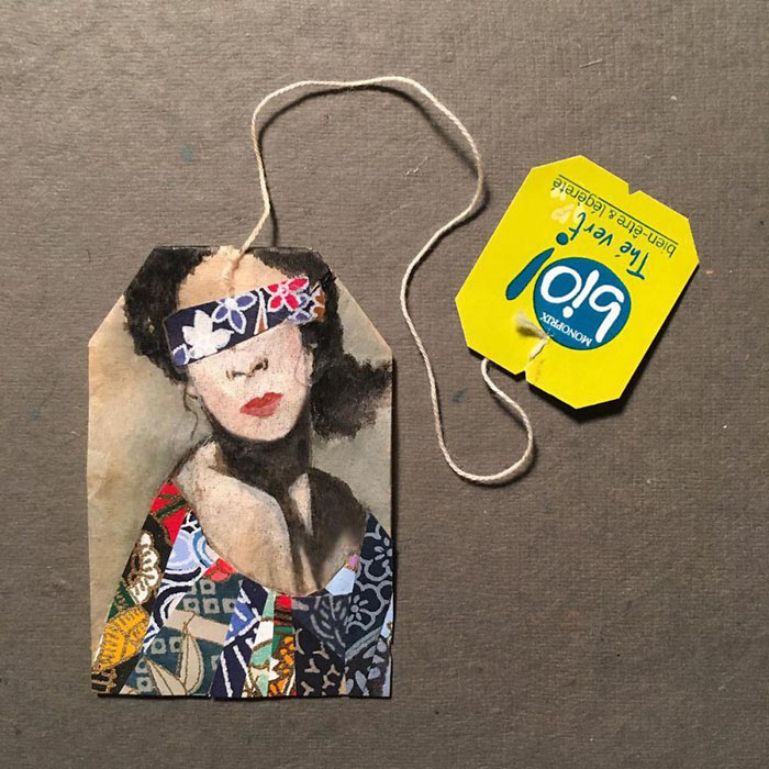 Bolsas de té empleadas cubiertas de hermosas pinturas en miniatura