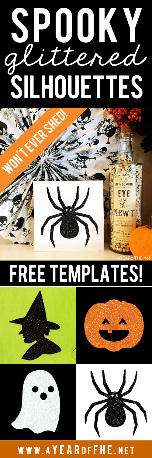 SPOOKY GLITTERED SILHOUETTES for HALLOWEEN!  A full tutorial with supply list, instructions, and free cut files for Silhouette cutters or a printable template so you can cut out by hand. And the best part is this glitter won't shed! So easy, chic, and inexpensive. This would be a great craft for tweens! #halloween #silhouettes #free #craft #template