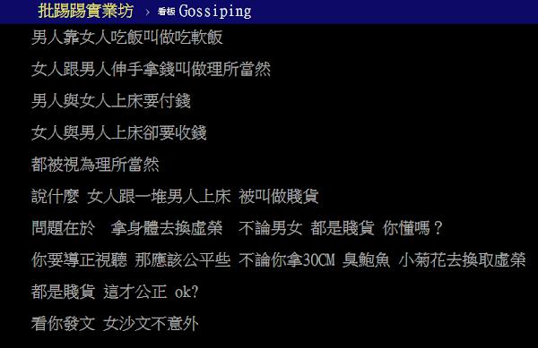 版上看法一面倒,聲稱女沙文主義戕害台灣男性。