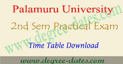 PU degree 2nd sem practical timetable 2017 palamuru university