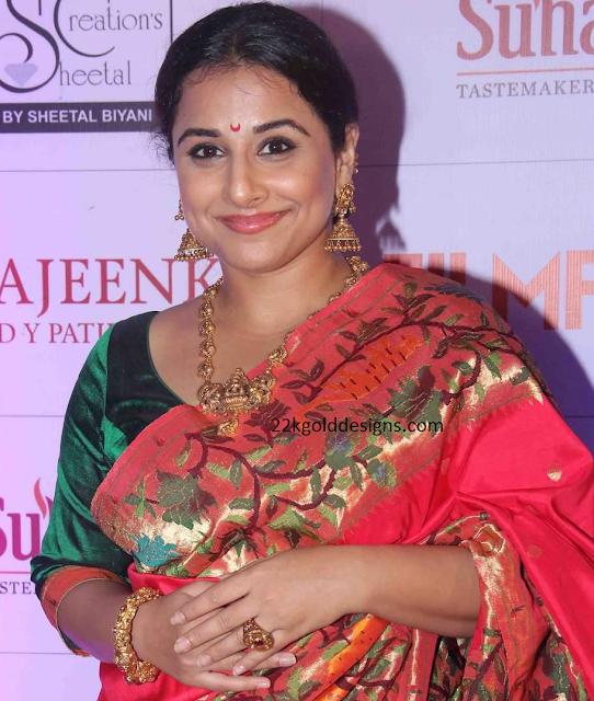 Vidya Balan in Gold Nakshi Jewelry