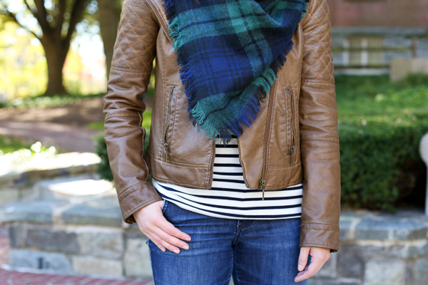 how to wear plaid and stripes with a leather jacket for fall