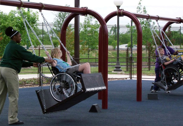 People built swings for children in wheelchairs.