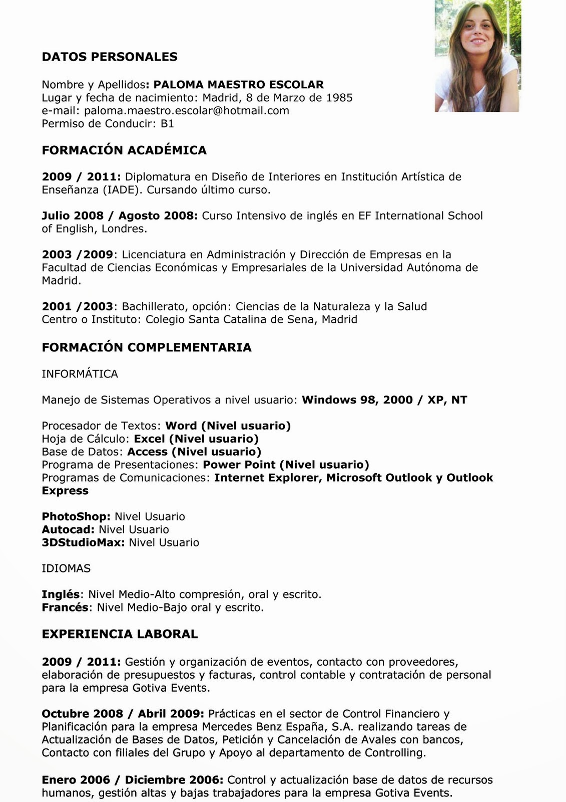 Ejemplo De Curriculum Vitae Funcionales | Resume Pdf Download