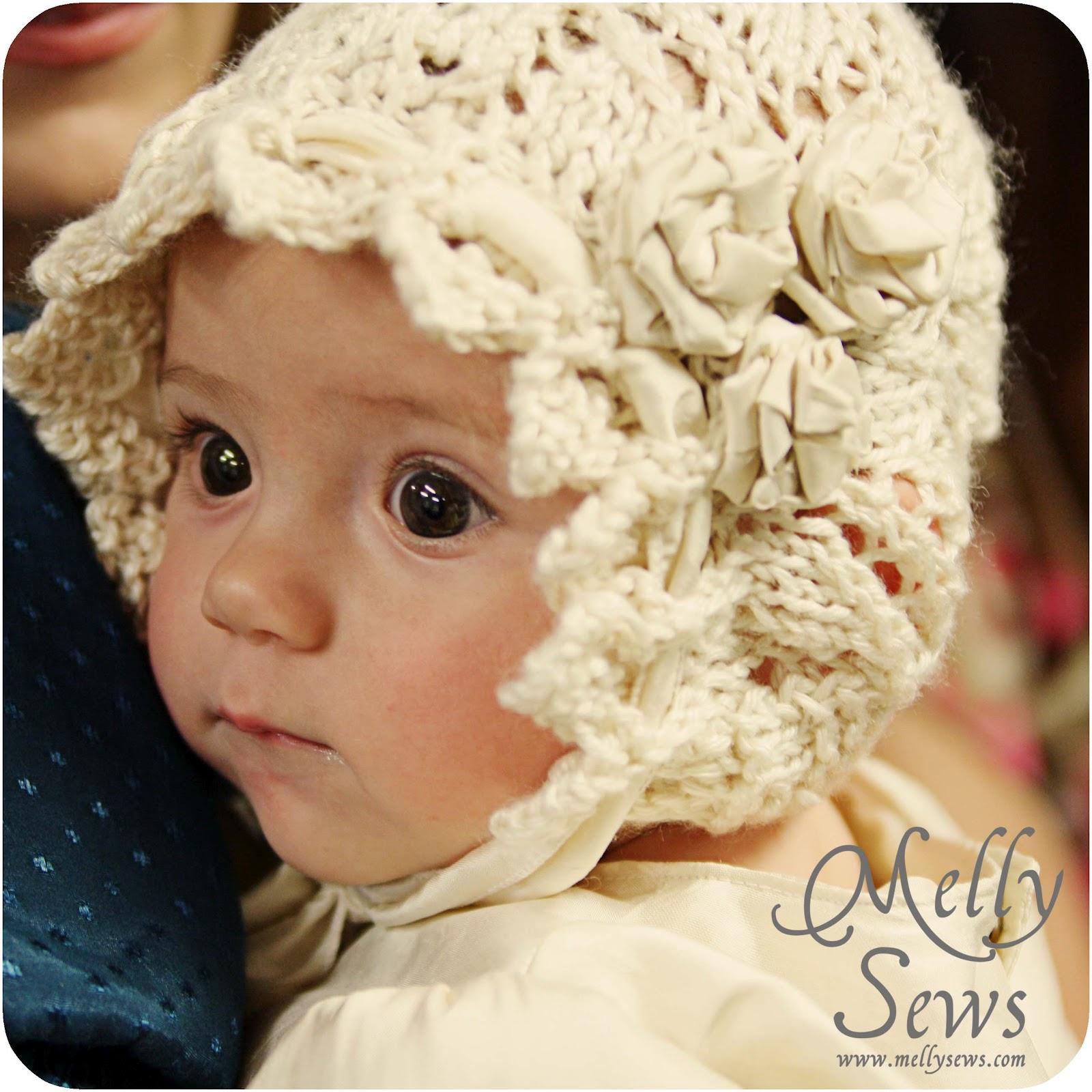 Lace Knit Baby Bonnet - Free pattern - Melly Sews