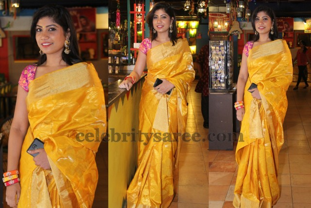 Mustard Printed Silk Saree