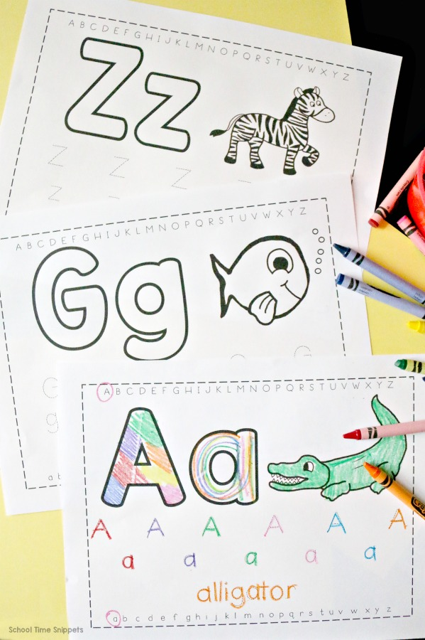 Free Trace Color Alphabet Printables School Time Snippets
