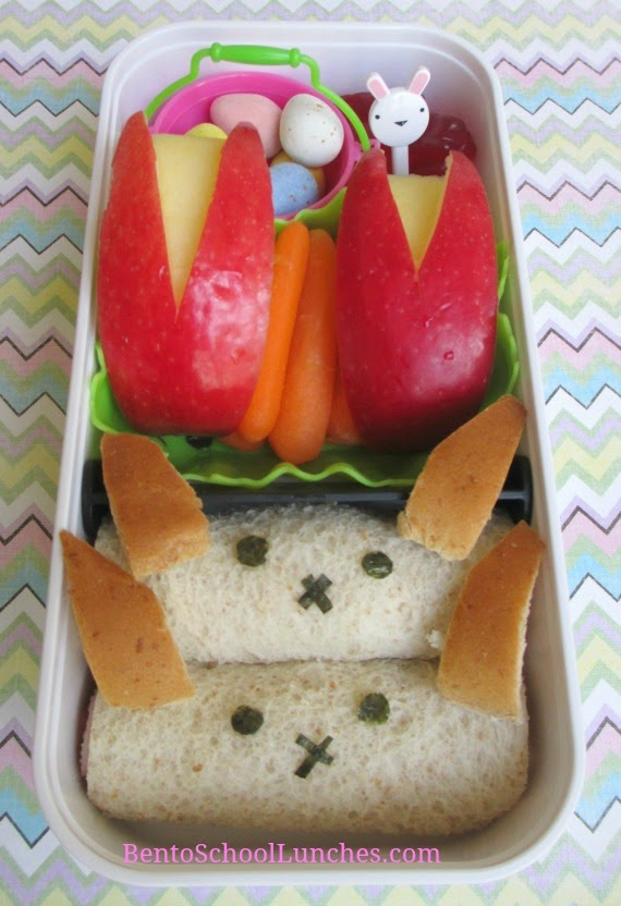 Bunny roll ups sandwiches, apple bunnies bento school lunch