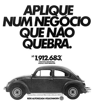 Propaganda antiga da Volkswagen que valoriza a durabilidade do Fusca