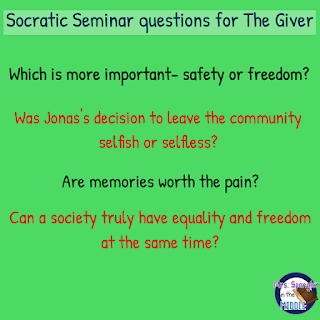 Socratic Seminar Questions for The Giver!  #teaching #middleschool