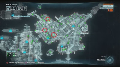 Batman Arkham Knight, Riddler's Bomb Locations, Bleake Island Map