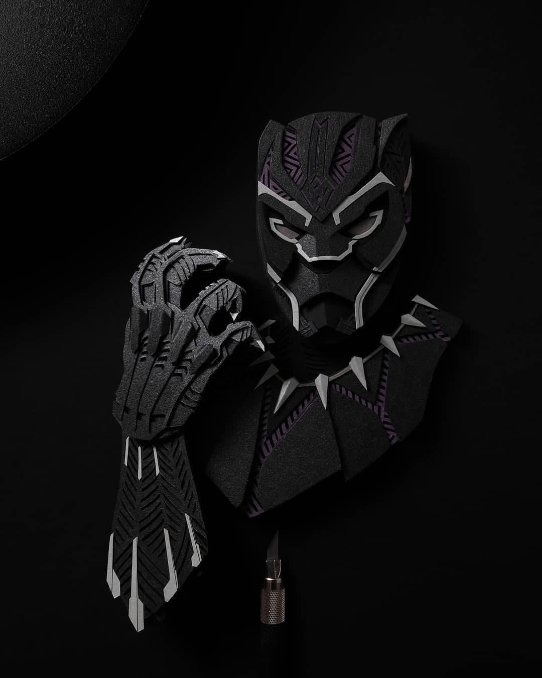 paper cut illustration black panther