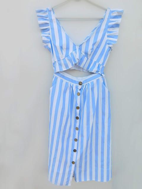 cami, light, blue, stripes, prugice, pruge, set, top, suknja, šos, topić, crop top, skirt, midi