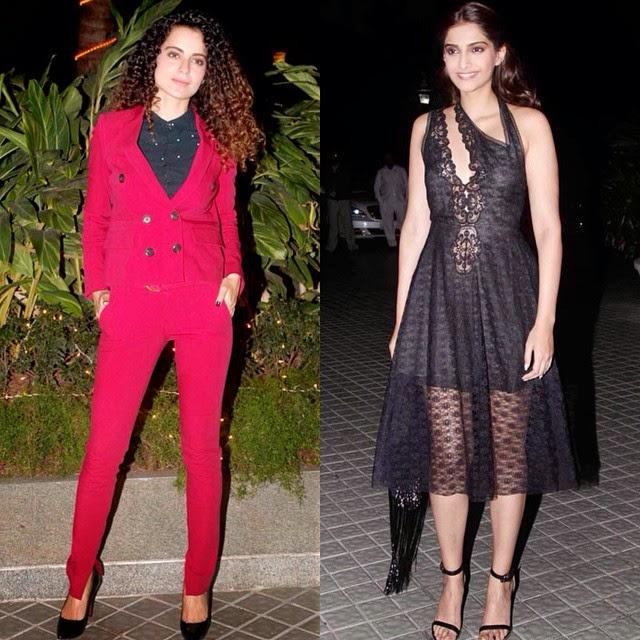 kangana ranaut , and sonam kapoor , at farah khans birthday bash.. ✨, Hot Pics Of Sonam Kapoor In Black Lace Dress At Farah Khan Birthday Party