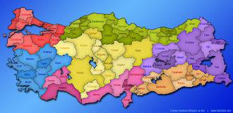 Renkli İller ve Bölgeler Haritası