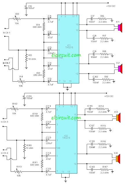 TA8215 4 Channel Power Amplifier CIrcuit