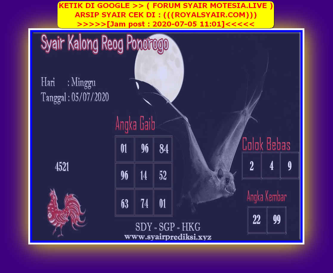 Kode syair Singapore Minggu 5 Juli 2020 165