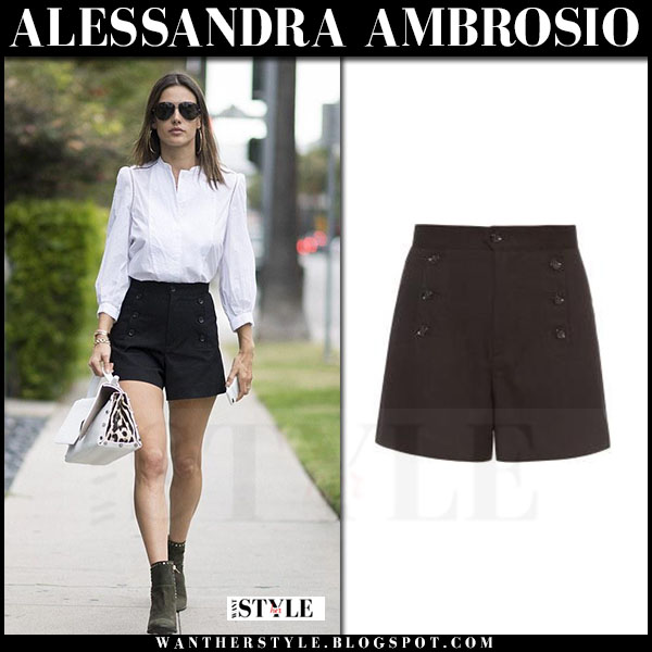 Alessandra Ambrosio in white shirt and black shorts isabel marant maude what she wore model style
