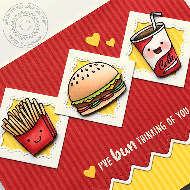 Sunny Studio Stamps: Fast Food Fun I've Bun Thinking of You Burger, Fries & Soda Pop Card by Mendi Yoshikawa