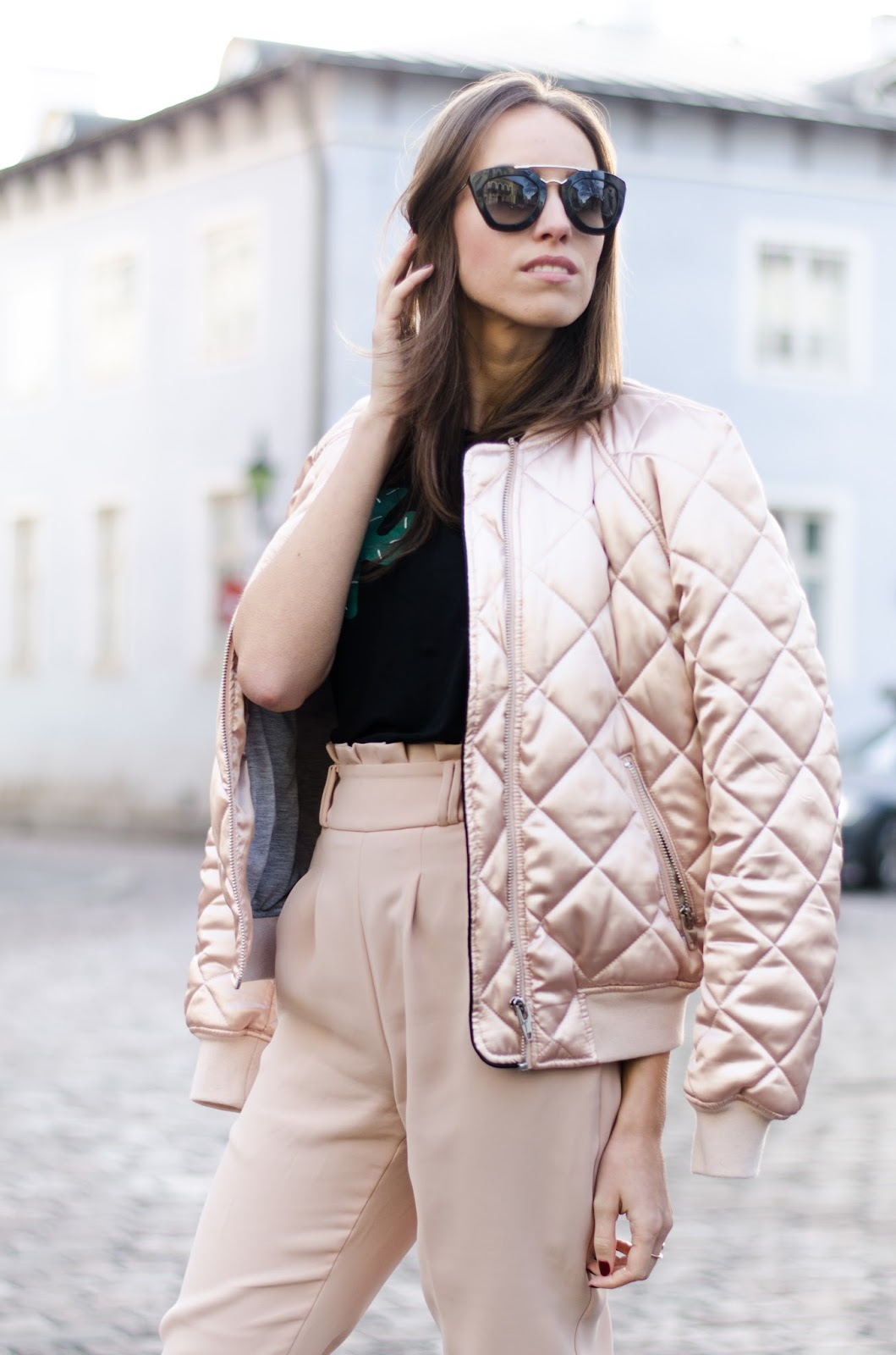 kristjaana mere pink padded bomber jacket outfit
