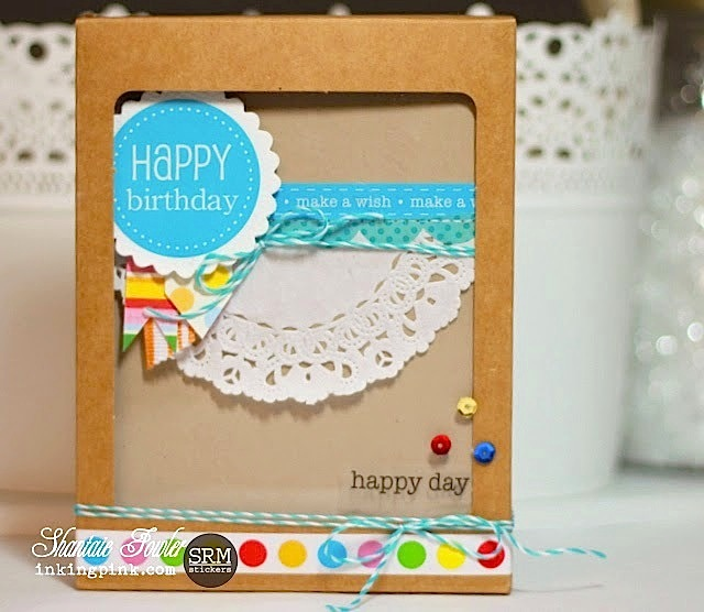 SRM Stickers Blog - A2 Card Set Kraft Window Box Shantaie Fowler - #cards #gift set #stickers #borders #twine #doilies #kraft
