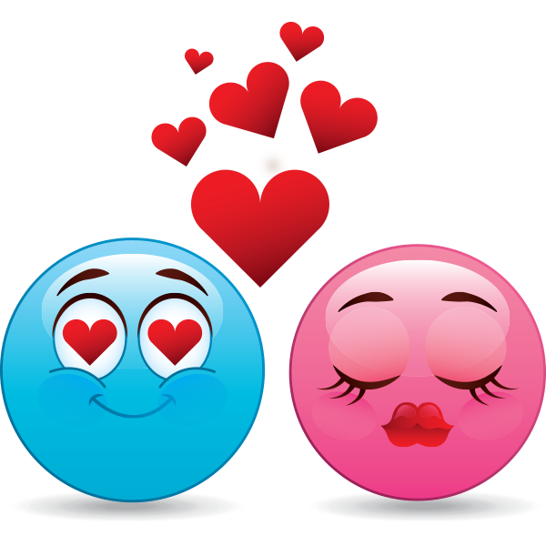 Pink and Blue Love Smileys