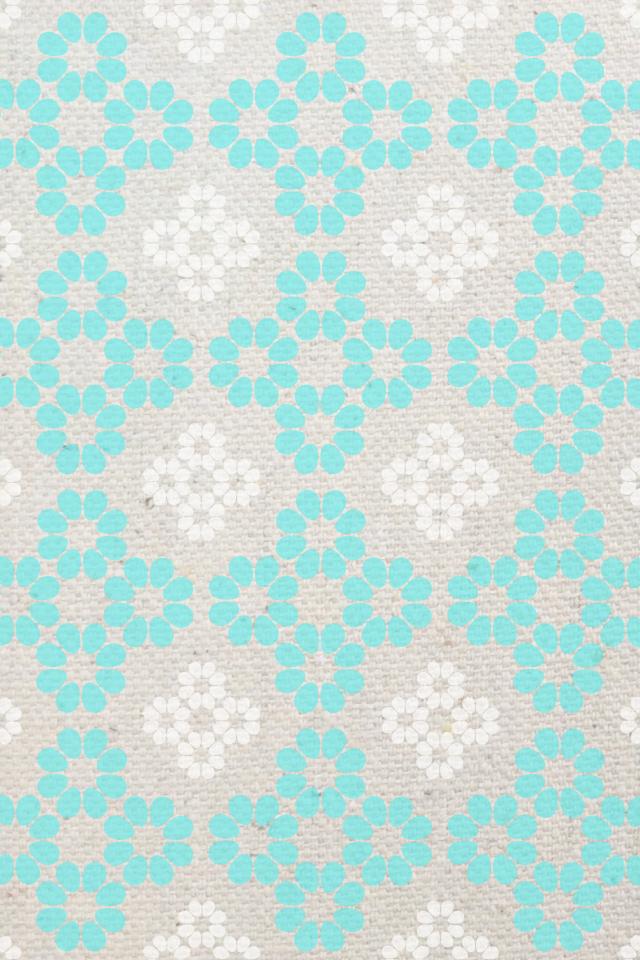 Linen Flower Aqua Gray Pink Patterned Wallpaper