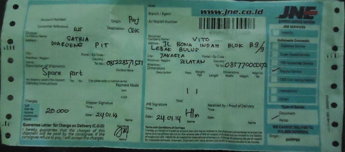 Bukti Pengiriman No Resi Jne Kirim ke Vito Lebak Bulus Jakarta Selatan