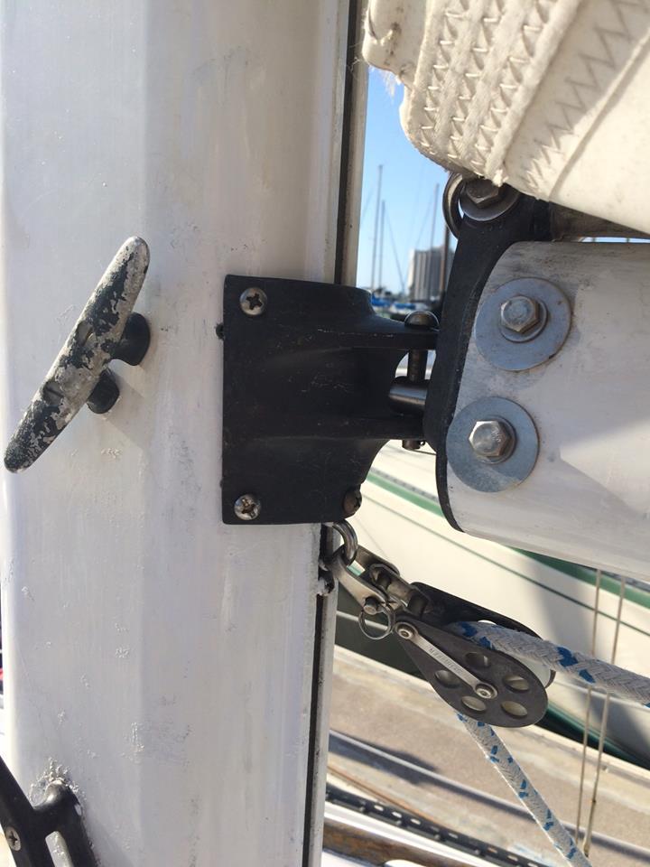 Captain Curran's sailing blog: Replacing a broken gooseneck on my