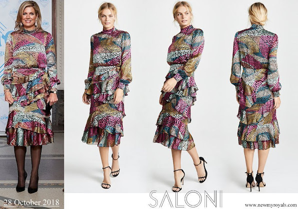 Queen Maxima wore Saloni Isa Ruffle Dress