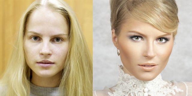 Sessão de fotos comparando mulheres sem maquiagem e depois de serem maquiadas