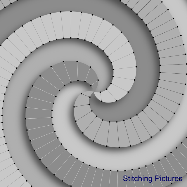 Printable pattern for modern monochrome spirals set of patterns from Stitching Pictures.