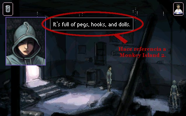 Una chica tapada con una capucha describe el contenido de una caja: alfileres, garfios y muñecos. Es una referencia a Monkey Island 2.