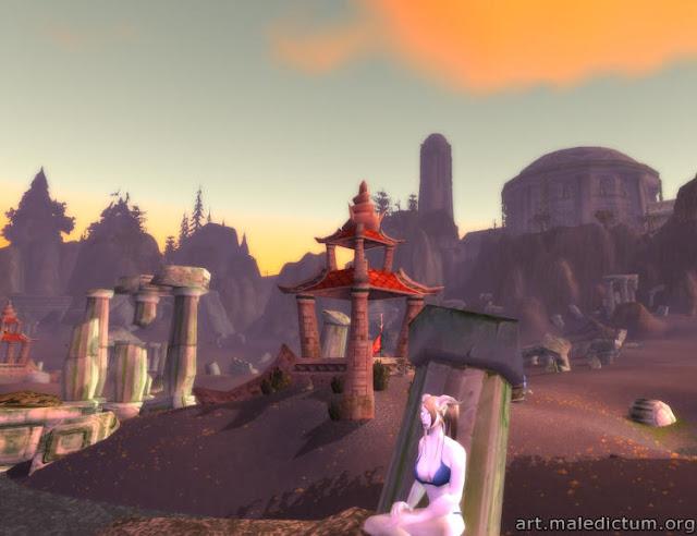 Дренейка позирует в старой Азжаре (скриншот)