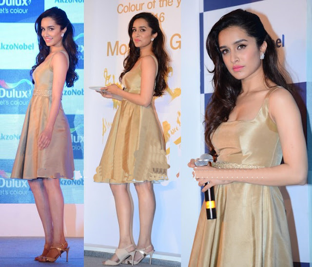Shraddha Wore Knee-Length Gold Toned Dress
